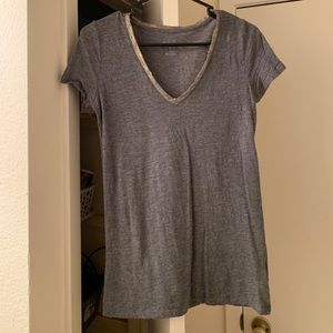 Grey t shirt with gold trim size xs